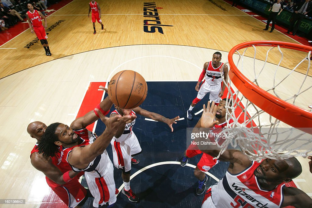 Nene #42 of the Washington Wizards grabs the rebound against the Los Angeles Clippers on February 4, 2013 at the Verizon Center in Washington, DC.