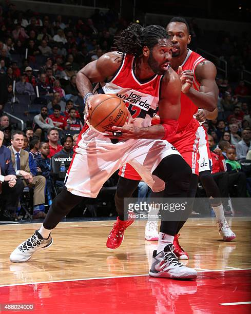 Nene of the Washington Wizards handles the ball against the Houston Rockets at the Verizon Center on March 29 2015 in Washington DC NOTE TO USER User...