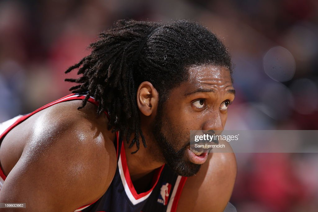 Nene #42 of the Washington Wizards looks on during a foul shot attempt in the game against the Portland Trail Blazers on January 21, 2013 at the Rose Garden Arena in Portland, Oregon.