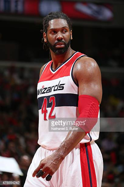 Nene of the Washington Wizards looks on during the game against the Atlanta Hawks in Game Four of the Eastern Conference Semifinals of the 2015 NBA...