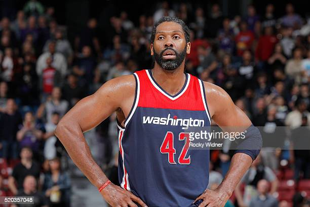Nene of the Washington Wizards looks on during the game against the Sacramento Kings on March 30 2016 at Sleep Train Arena in Sacramento California...