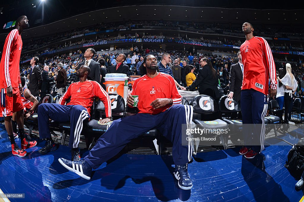 Nene #42 of the Washington Wizards looks on from the bench before the game against the Denver Nuggets on January 18, 2013 at the Pepsi Center in Denver, Colorado.
