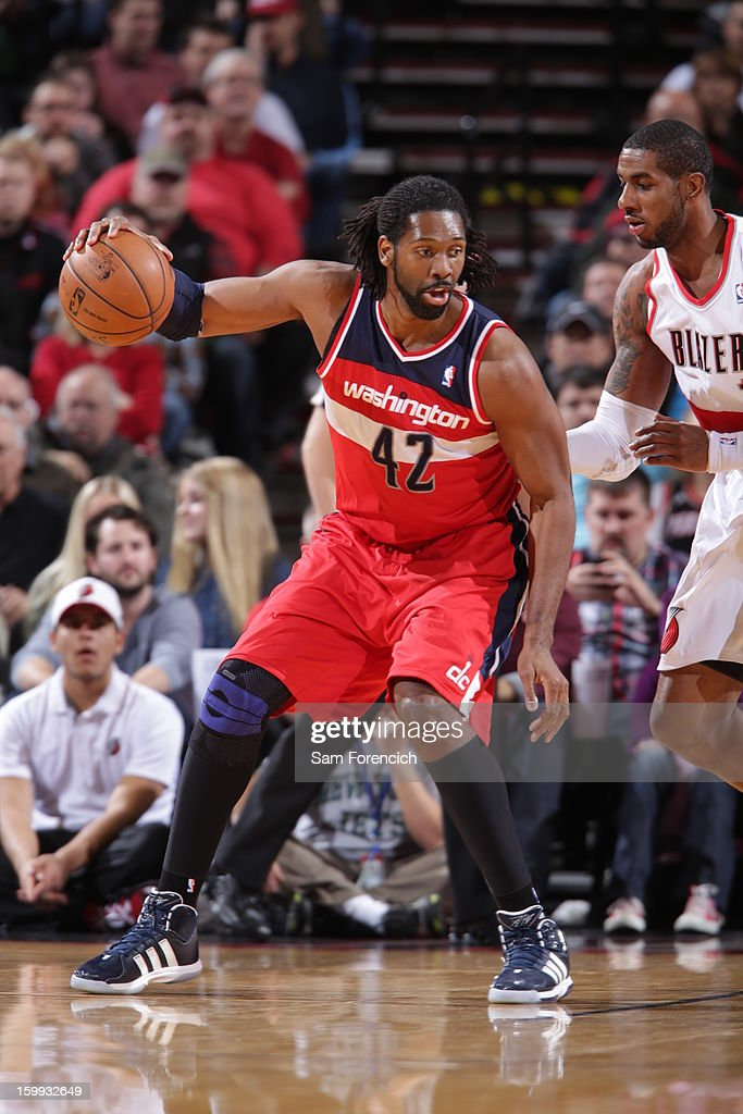 Nene #42 of the Washington Wizards looks to drive to the basket against the Portland Trail Blazers on January 21, 2013 at the Rose Garden Arena in Portland, Oregon.