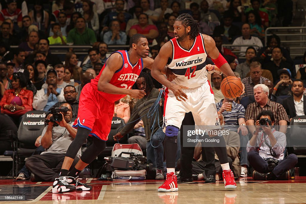 Nene #42 of the Washington Wizards looks to drive to the basket against the Philadelphia 76ers at the Verizon Center on April 12, 2013 in Washington, DC.