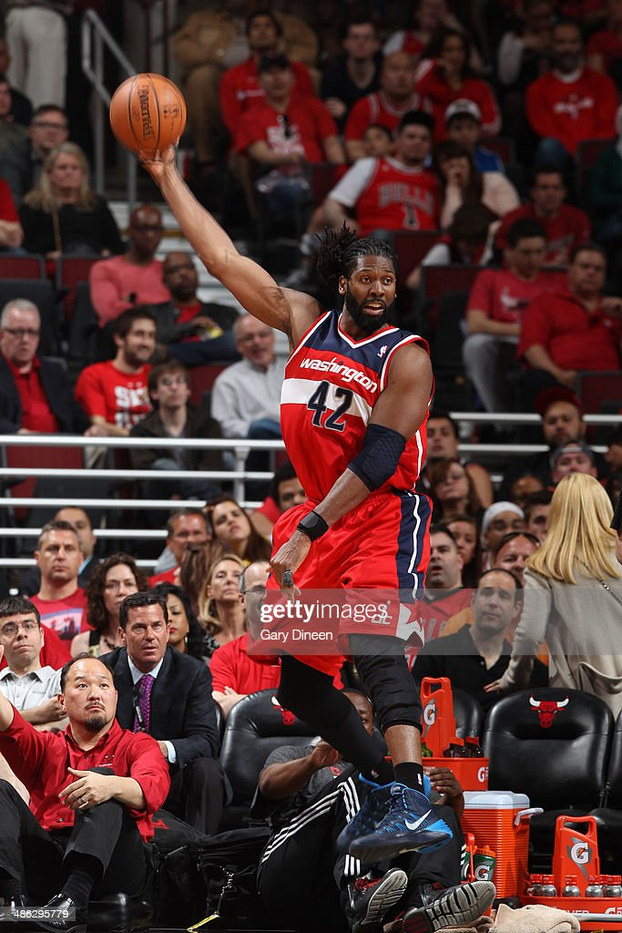 Nene #42 of the Washington Wizards passes the ball against the Chicago Bulls during Game 1 of the Eastern Conference Quarterfinals on April 20, 2014 at the United Center in Chicago, Illinois.