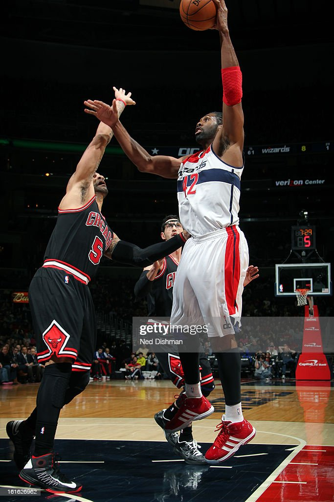 Nene #42 of the Washington Wizards puts up a shot against the Chicago Bulls at the Verizon Center on January 26, 2013 in Washington, DC.