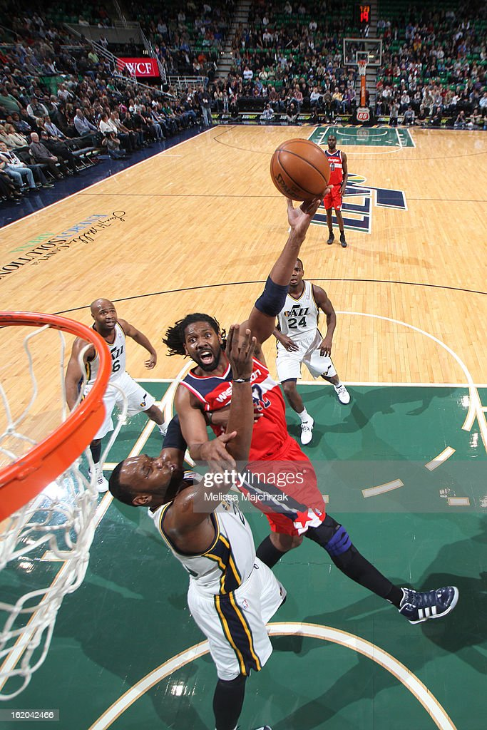 Nene #42 of the Washington Wizards puts up a shot against the Utah Jazz at Energy Solutions Arena on January 23, 2013 in Salt Lake City, Utah.