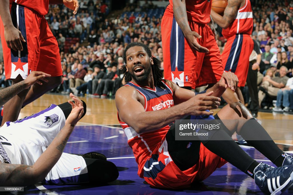Nene #42 of the Washington Wizards reacts after the play against the Sacramento Kings on January 16, 2013 at Sleep Train Arena in Sacramento, California.