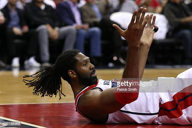 Nene of the Washington Wizards reacts to a call against the New York Knicks during the first half at Verizon Center on October 31 2015 in Washington...