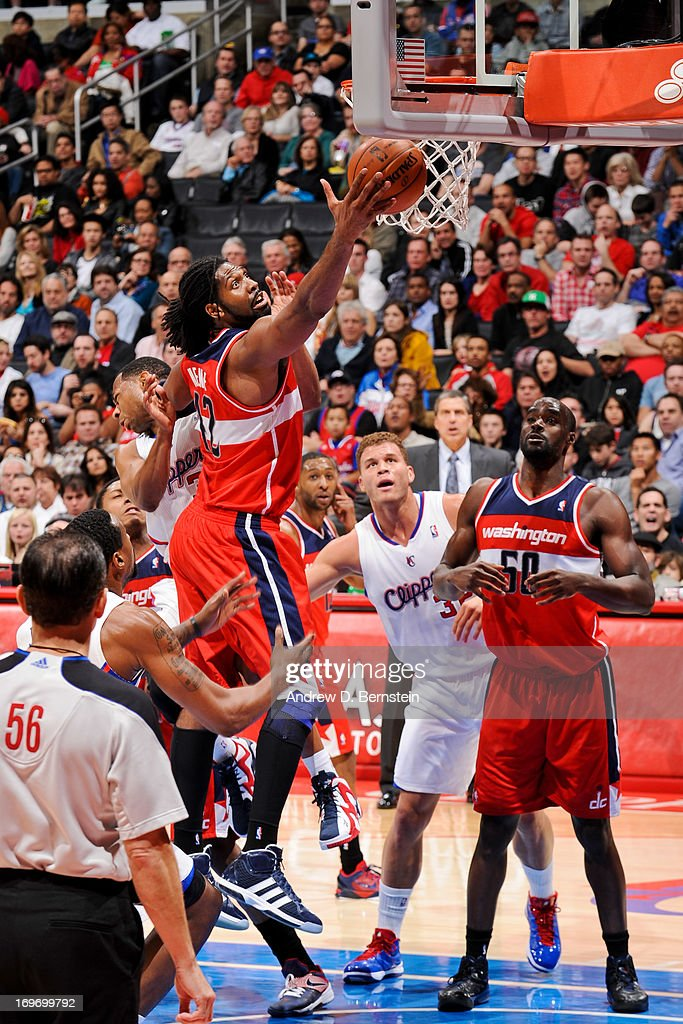 Nene #42 of the Washington Wizards shoots a layup against the Los Angeles Clippers at Staples Center on January 19, 2013 in Los Angeles, California.
