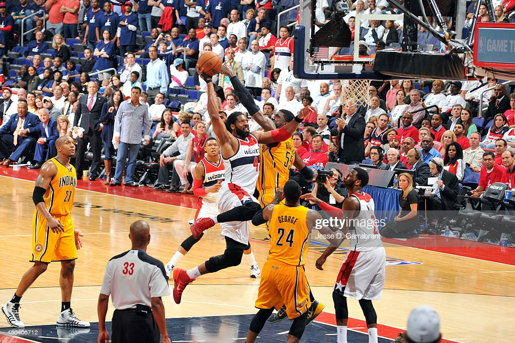 Nene #42 of the Washington Wizards shoots against <a gi-track='captionPersonalityLinkClicked' href=/galleries/search?phrase=Roy+Hibbert&family=editorial&specificpeople=725128 ng-click='$event.stopPropagation()'>Roy Hibbert</a> #55 of the Indiana Pacers during Game Six of the Eastern Conference Semifinals on May 15, 2014 at the Verizon Center in Washington, D.C.