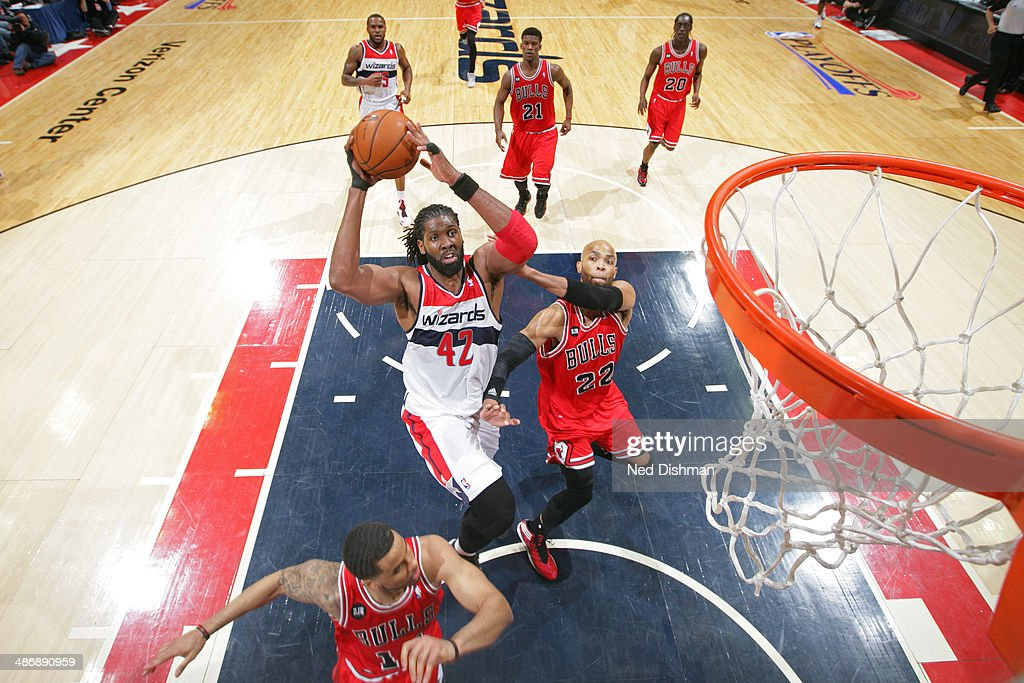Nene #42 of the Washington Wizards shoots against the Chicago Bulls in Game Three of the Eastern Conference Quarterfinals during the 2014 NBA Playoffs at the Verizon Center on April 25, 2014 in Washington, DC.