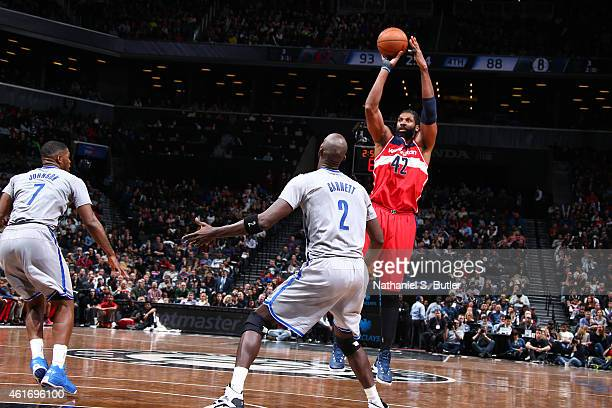 Nene of the Washington Wizards shoots the ball against the Brooklyn Nets during the game on January 17 2015 at Barclays Center in Brooklyn New York...