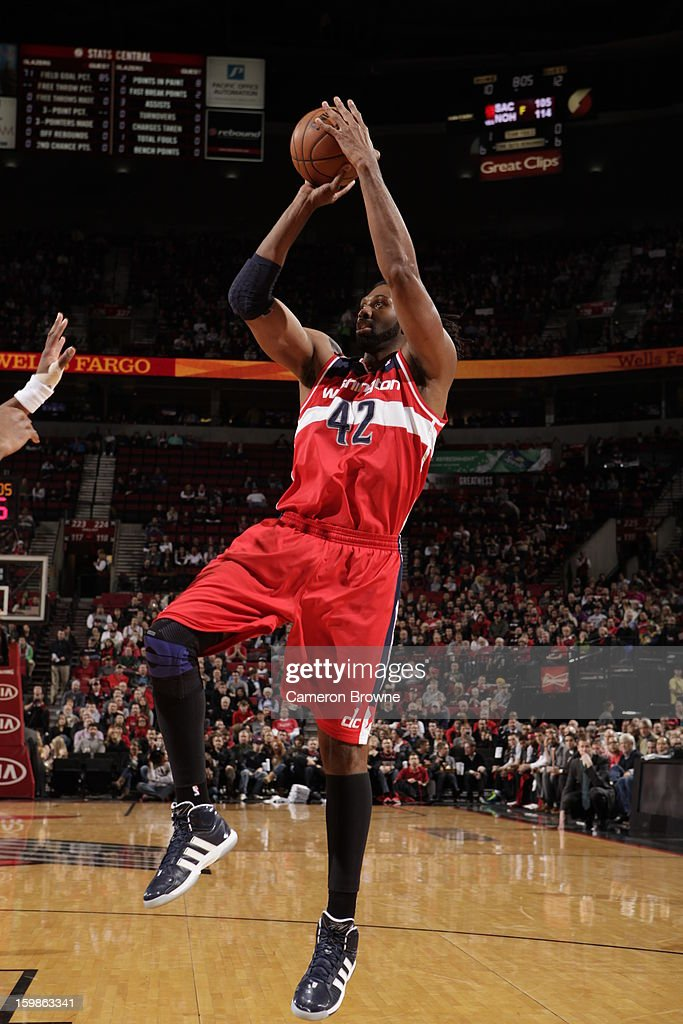 Nene #42 of the Washington Wizards shoots the ball against the Portland Trail Blazers on January 21, 2013 at the Rose Garden Arena in Portland, Oregon.
