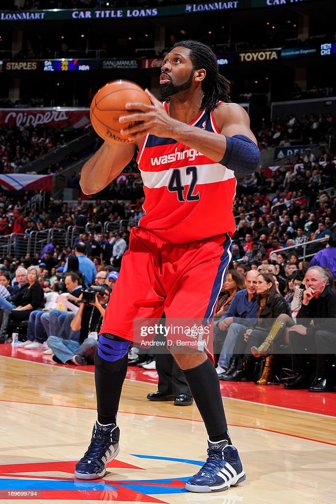 Nene #42 of the Washington Wizards squares to shoot against the Los Angeles Clippers at Staples Center on January 19, 2013 in Los Angeles, California.