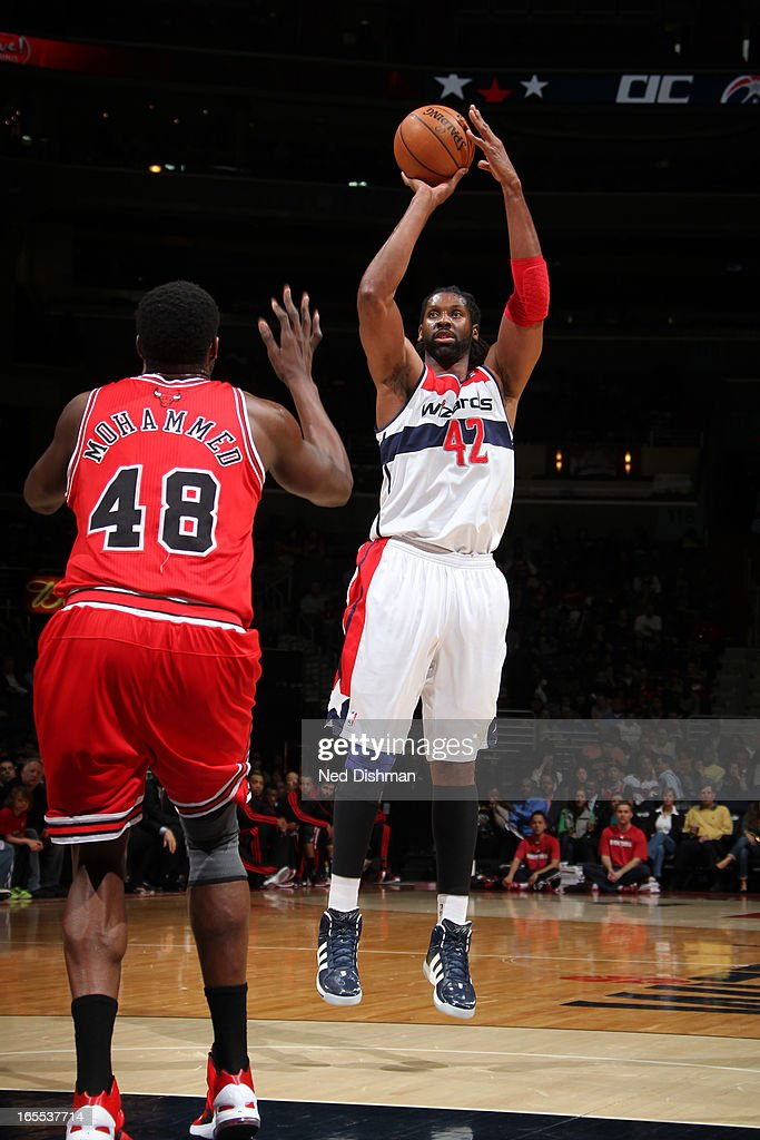 Nene #42 of the Washington Wizards takes a shot against the Chicago Bulls at the Verizon Center on April 2, 2013 in Washington, DC.