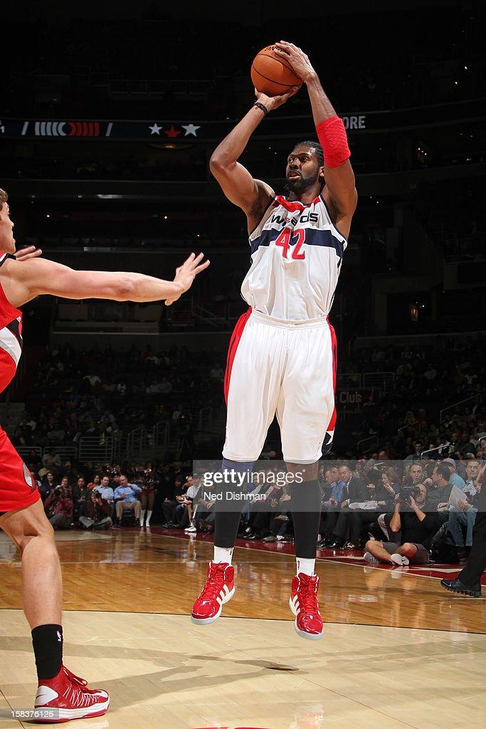 Nene #42 of the Washington Wizards takes a shot against the Portland Trail Blazers at the Verizon Center on November 28, 2012 in Washington, DC.