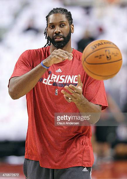 Nene of the Washington Wizards warms up prior to play against the Toronto Raptors in Game Two of the Eastern Conference Quarterfinals during the 2015...