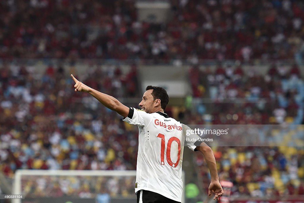 Nene of Vasco celebrates a scored goal during a match between Flamengo and Vasco as part of Brasileirao Series A 2015 at Maracana Stadium on September 27, 2015 in Rio de Janeiro, Brazil.