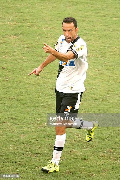 Nene of Vasco celebrates after scoring on a penalty kick against Flamengo during a match between Flamengo and Vasco as part of Brasileirao Series A...