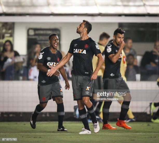 Nene of Vasco celebrates his goal during the match between Santos and Vasco da Gama as a part of Campeonato Brasileiro 2017 at Vila Belmiro Stadium...