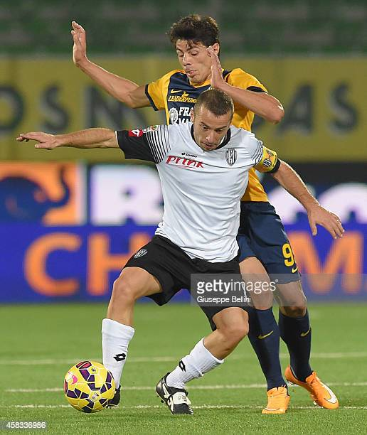 Nene of Verona and Giuseppe De Feudis of Cesena in action during the Serie A match between AC Cesena and Hellas Verona FC at Dino Manuzzi Stadium on...