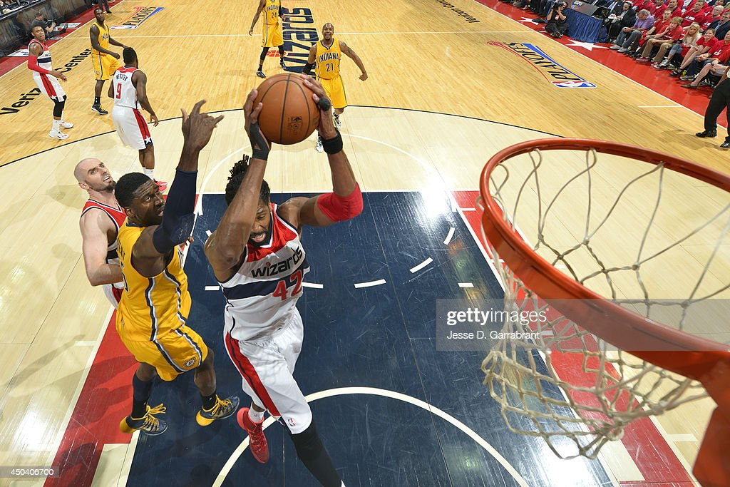 Nene #42of the Washington Wizards shoots against <a gi-track='captionPersonalityLinkClicked' href=/galleries/search?phrase=Roy+Hibbert&family=editorial&specificpeople=725128 ng-click='$event.stopPropagation()'>Roy Hibbert</a> #55 of the Indiana Pacers in Game Six of the Eastern Conference Semifinals on May 15, 2014 at the Verizon Center in Washington, D.C.