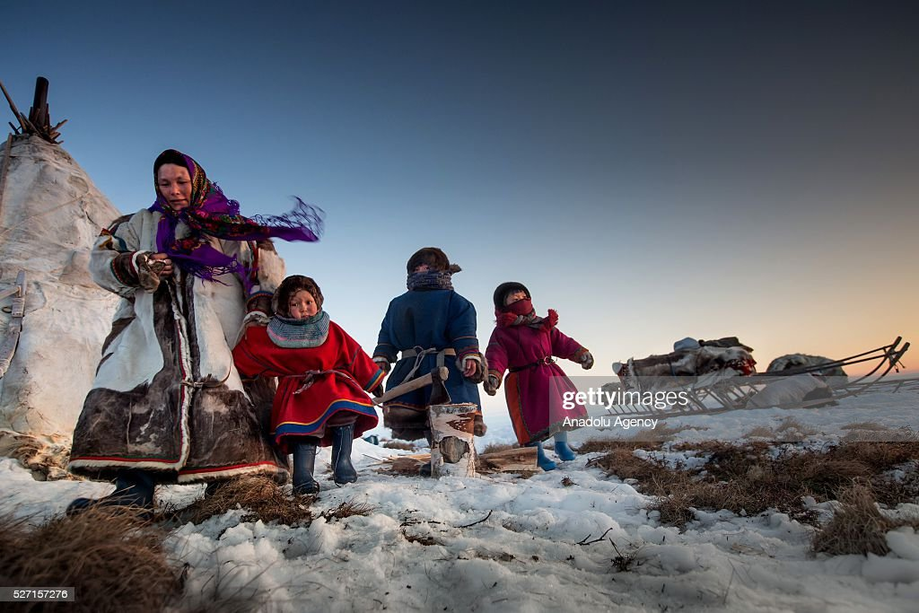 Nenet family is seen at 150 km from the town of Salekhard, Yamalo-Nenets Autonomous Okrug in Russia on May 2, 2016.
