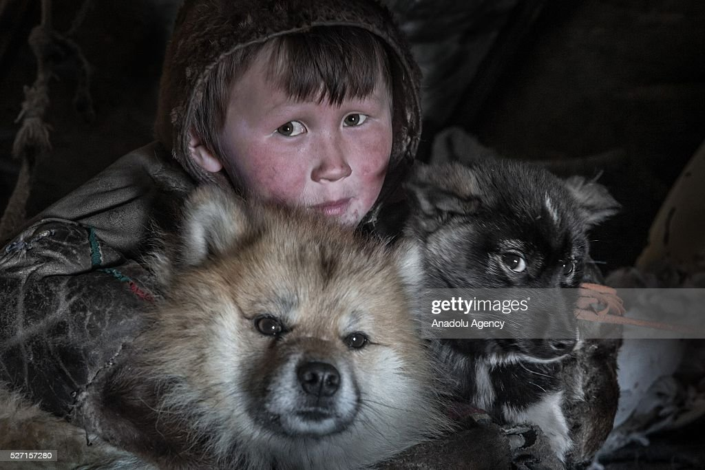 A Nenet kid poses with his animals at a nomad camp at 150 km from the town of Salekhard, Yamalo-Nenets Autonomous Okrug in Russia on May 2, 2016.