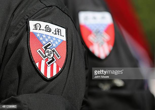 Neo Nazis take part in a Ku Klux Klan demonstration at the state house building on July 18 2015 in Columbia South Carolina The KKK protested the...