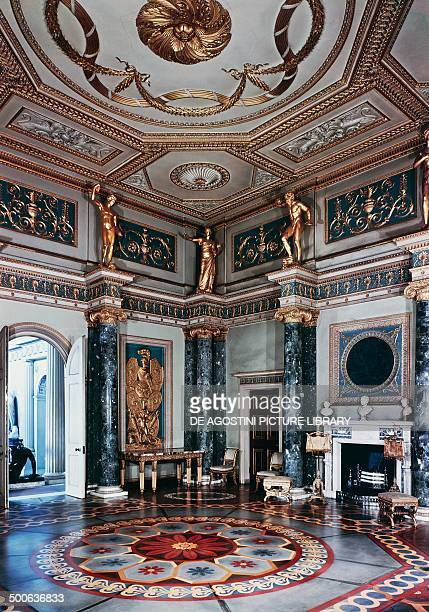 Neoclassical style vestibule in Syon House architect Robert Adam London England United Kingdom 18th century