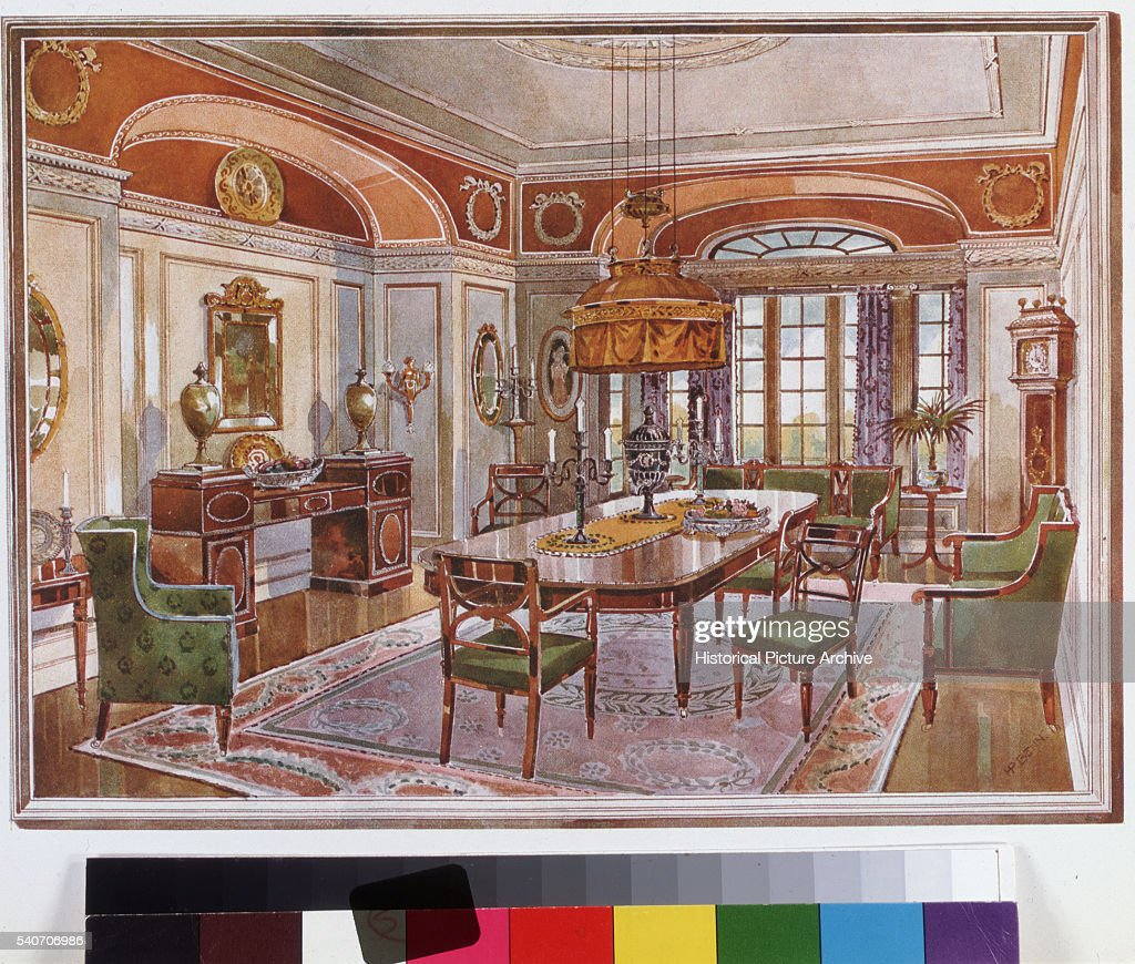 A neoGeorgian diningroom from England 1909 Published in HP Shapland's Style Schemes in Antique Furnishing in 1909