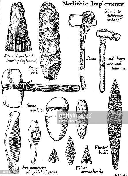 Neolithic implements of stone flint and horn c1890 A range of tools and weapons including axes hammers knives and arrowheads