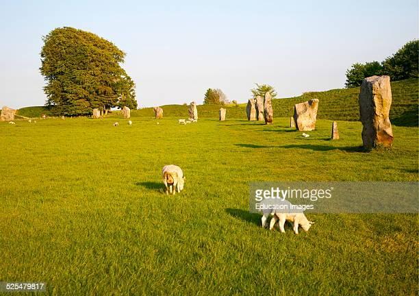 Neolithic stone circle and henge at Avebury Wiltshire England