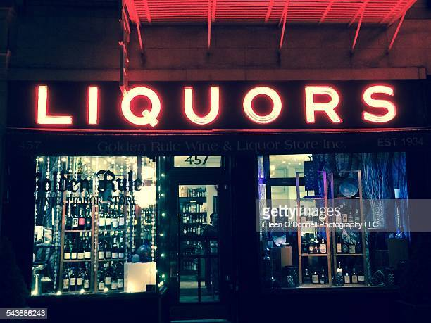 Neon at night Generic looking liquor store in Greenwich Village New York City on March 9 2015