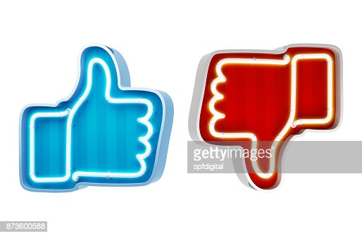 Neon button like and dislike on a white background. 3d render : Stock Photo