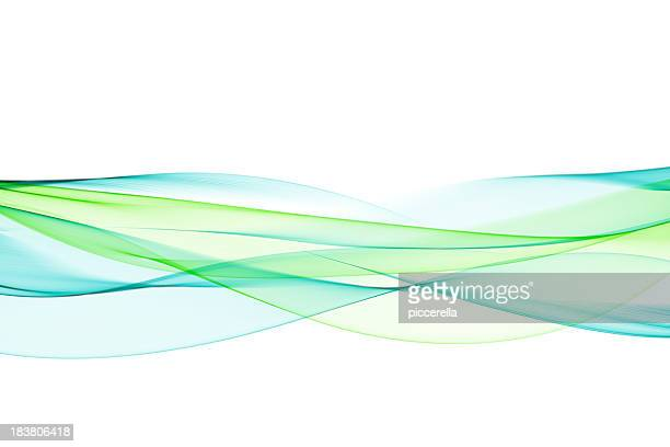 Neon green and turquoise wave pattern flowing through