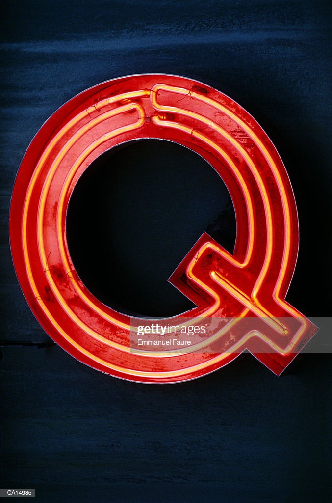 Neon letter 'Q', close-up : Stock Photo
