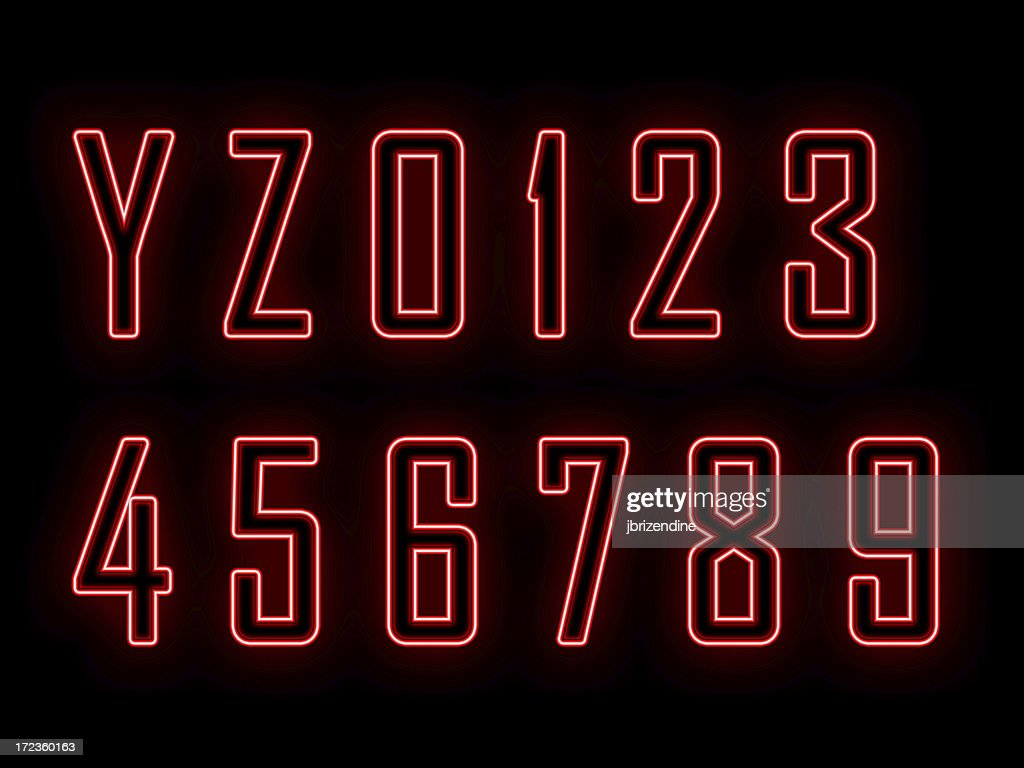 Neon letters and numbers Y-0