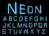 Neon light alphabet 3d rendering on black blackground