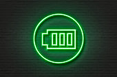 Neon light icon battery