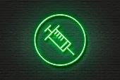 Neon light icon needle health
