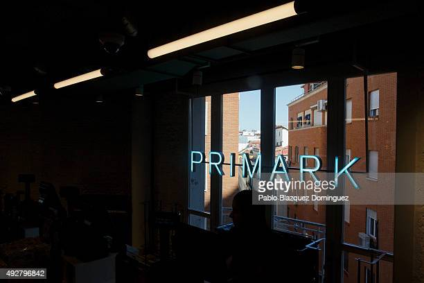 A neon light sign reads 'Primark' at Primark Gran Via store during the inaguration day on October 15 2015 in Madrid Spain Primark opened the largest...
