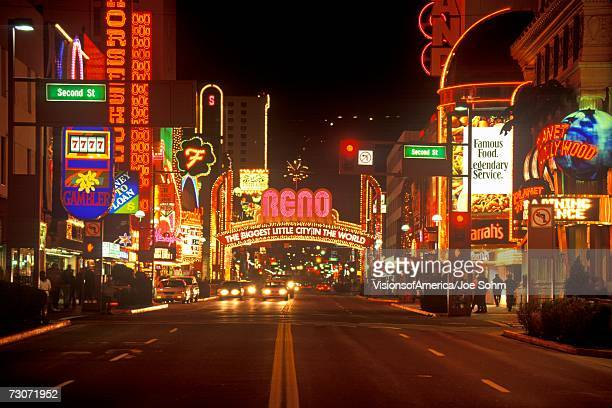 'Neon lights at night in Reno, NV'