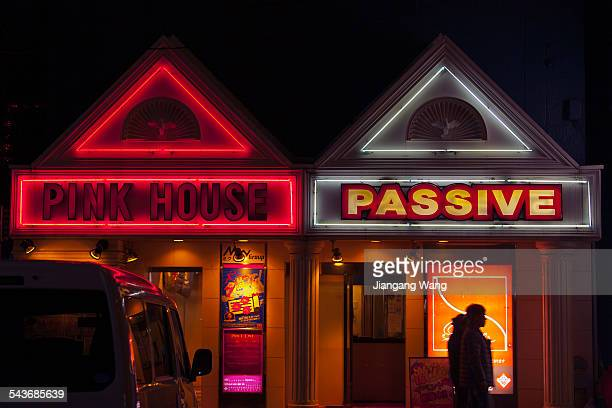 Neon lights at the entrances of PINK HOUSE and PASSIVE beside the road of Japan National Route 16 in Yokohama Taken on March 8 2015