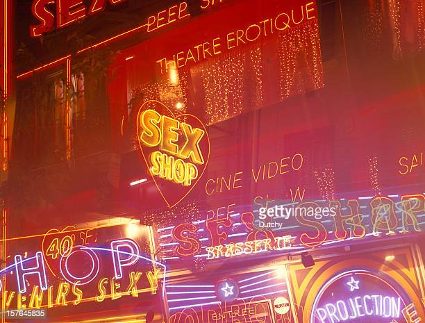 Neon lights at the red light district of Paris, France.