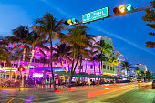 Neon lights on Ocean Drive.