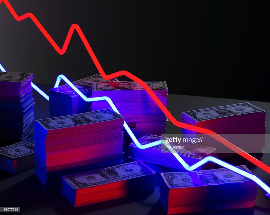 neon lights surrounded by piles of money : Stock Photo