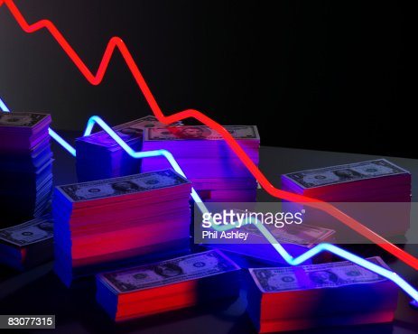 neon lights surrounded by piles of money