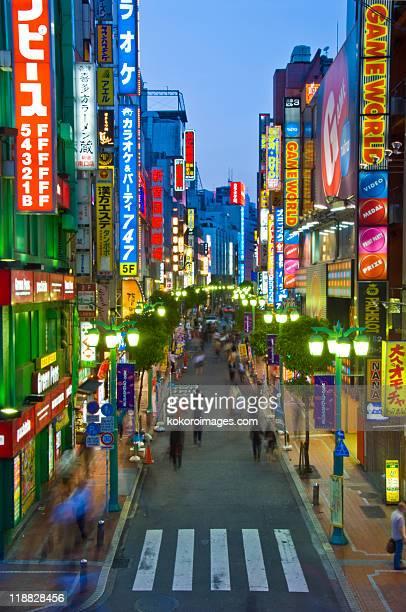 Neon lined street in East Shinjuku